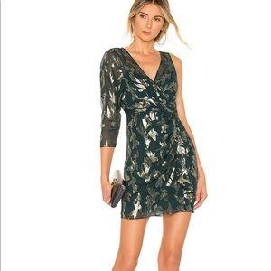 BCBGMaxAzria Green Faux Wrap Metallic Dress